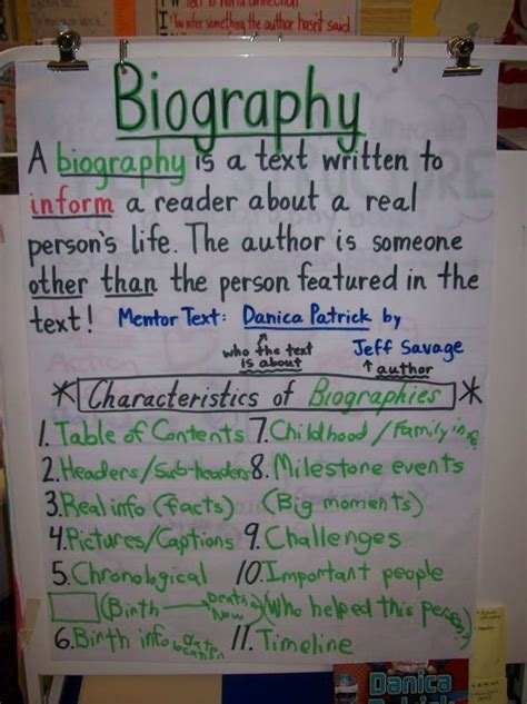 biography text in english biography anchor chart students look for characteristics