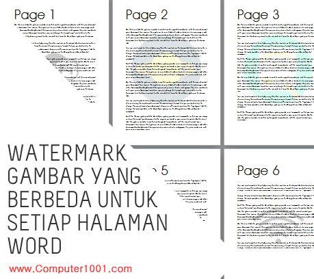 membuat halaman yang berbeda dalam word cara membuat watermark gambar yang berbeda untuk setiap