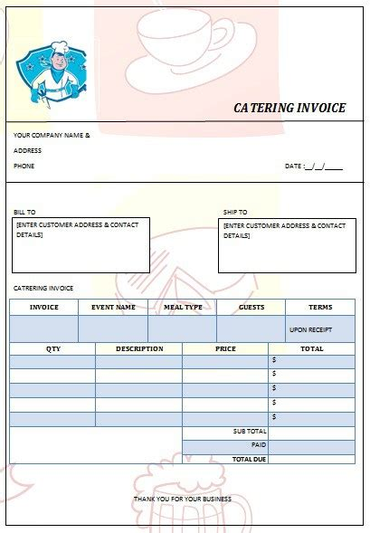 28 Catering Invoice Templates Free Download Demplates Food Invoice Template