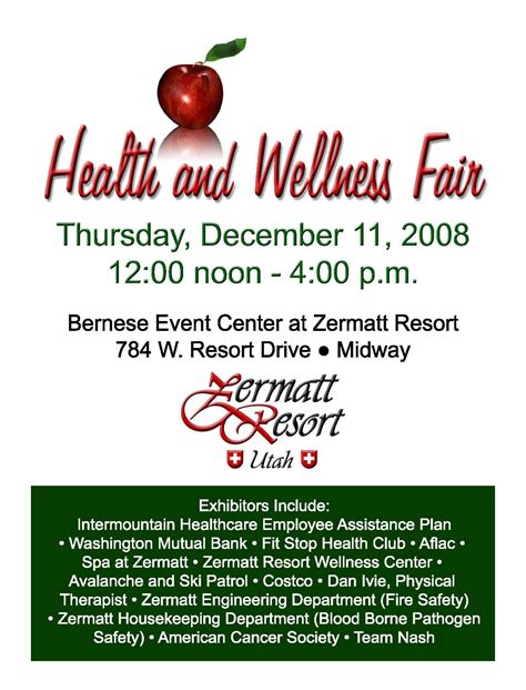 Health And Wellness Fair At Zermatt Resort The Zermatt Resort Weblog Health And Wellness Flyer Template