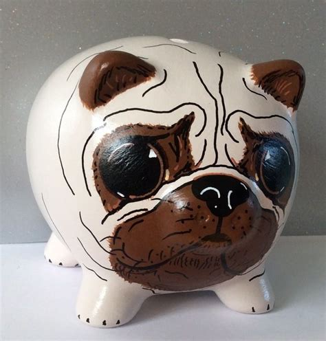 pug piggy bank gold wing necklace pug and piggy bank
