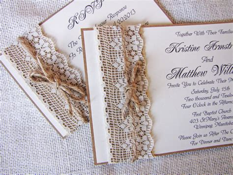 Handmade Invitations - handmade rustic lace wedding invitations ipunya