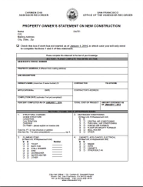 Records Property Ownership California Property Owner S Statement On New Construction Version Ccsf Office Of