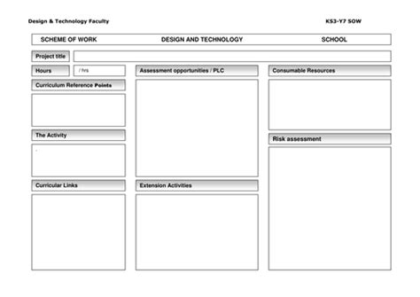 Schemes Of Work Template by Scheme Of Work Blank Template By Ktreen Teaching