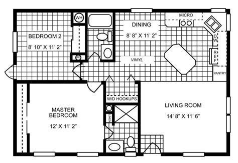 864 sq ft manufactured home floor plan