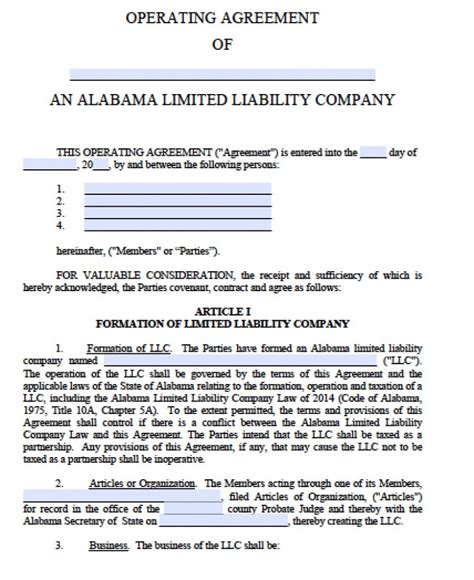 Free Alabama Llc Operating Agreement Template Pdf Word Limited Liability Company Operating Agreement Template Free