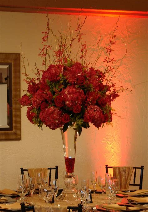 red hydrangea reception wedding flowers, wedding decor