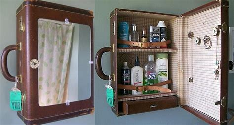 Old Suitcase Upcycled Into Bathroom Medicine Cabinet Upcycled Bathroom Storage