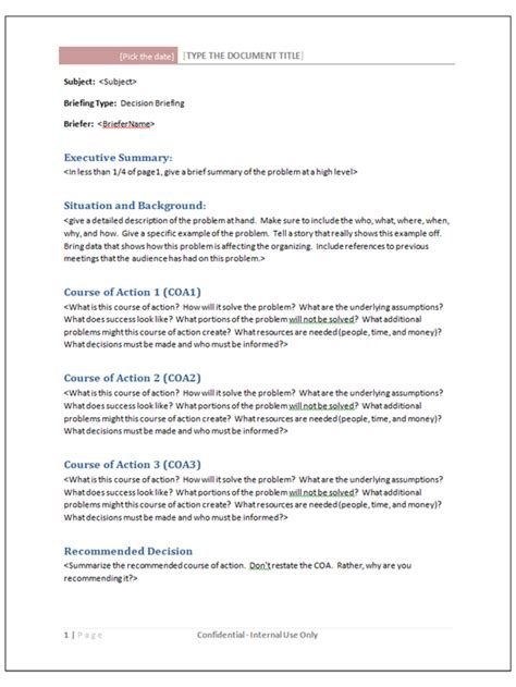 briefing memo template briefing note template