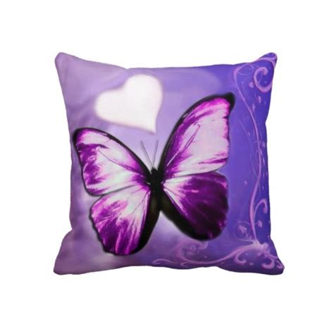 Purple Butterfly Pillow by Purple Butterfly Throw Pillow