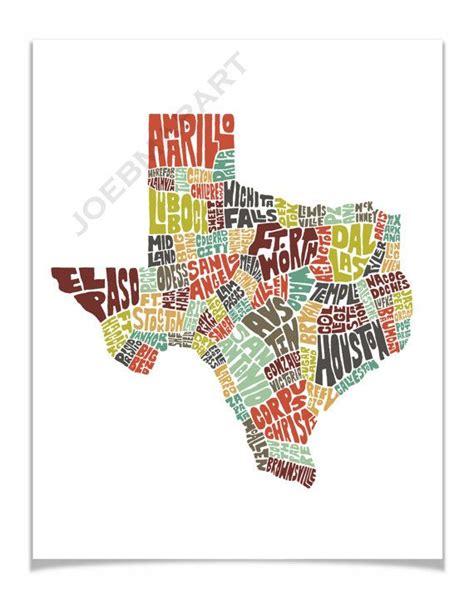 texas map prints texas typography map print featuring its cities towns in color