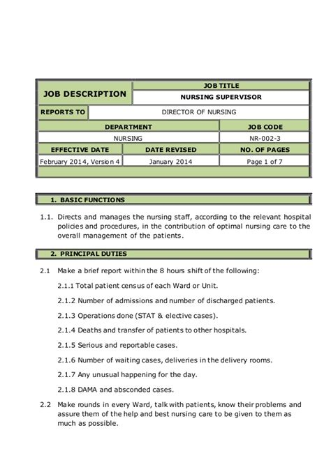 Supervisor Description Sle by Nursing Supervisor Description 28 Images
