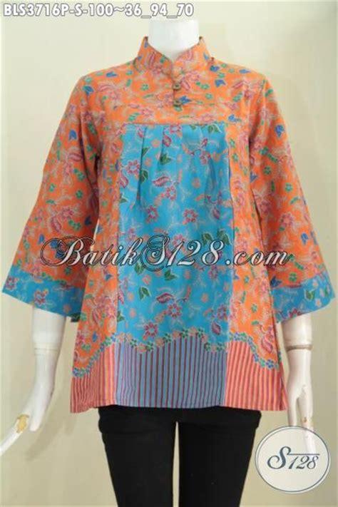 Blus Tenun Kombinasi 2in1 Biru blus batik kombinasi warna orange dan biru baju batik