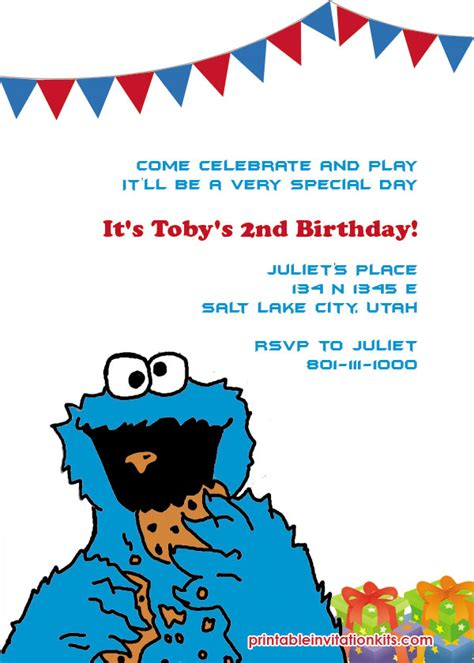 Cookie Monster Invitations Template Best Template Collection Cookie Invitations Templates