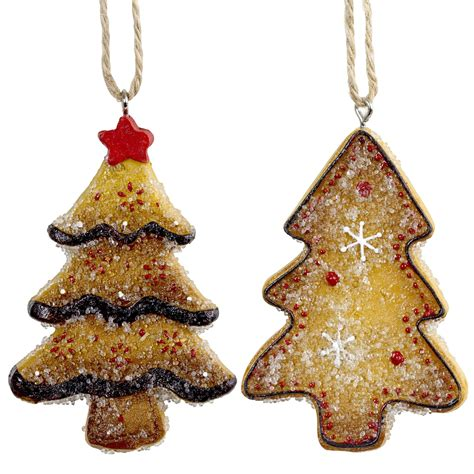 set of 2 hanging gingerbread christmas tree decorations