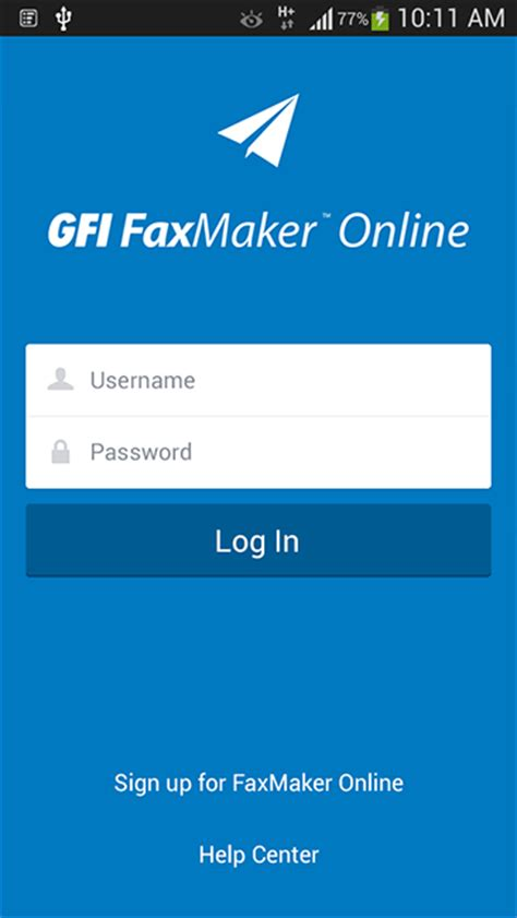 mobile login page android mobile app gfi faxmaker