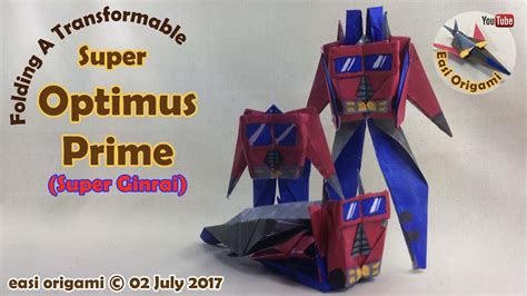 membuat origami robot transformer how to make a papercraft origami transformer super ginrai
