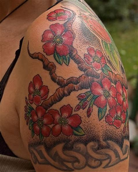 tattoo flower tree red flowers tree on shoulder
