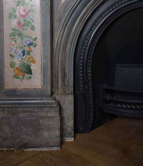 antique early painted slate arched
