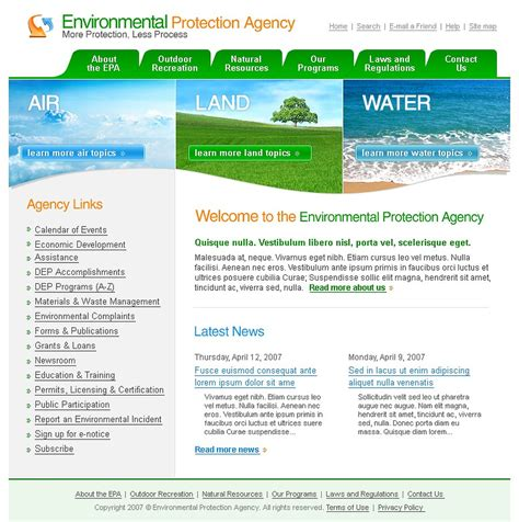 environmental protection agency website template web