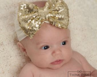 jersey sequin baby headband gold from for and babies etsy