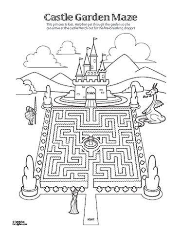 printable dragon mazes maze color page kennedie s princess party