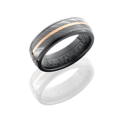 black zirconium wedding band with damascus steel steel