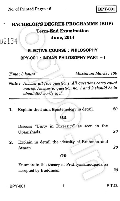 Ignou Mba Question Papers June 2014 by Ignou Bpy 001 Indian Philosophy Question Paper June 2014