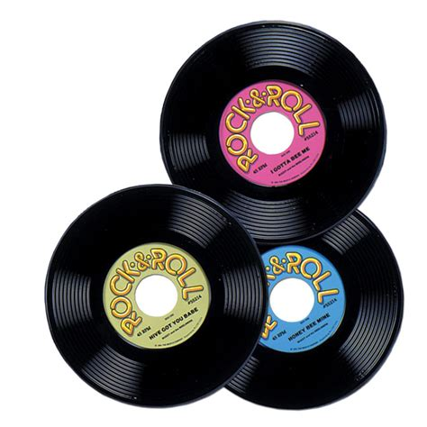 Pack of 3 rock and roll 50s plastic record 23cm party decorations new