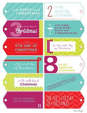 12 days of christmas gift tags printable 12 days of gift tags 12 days and