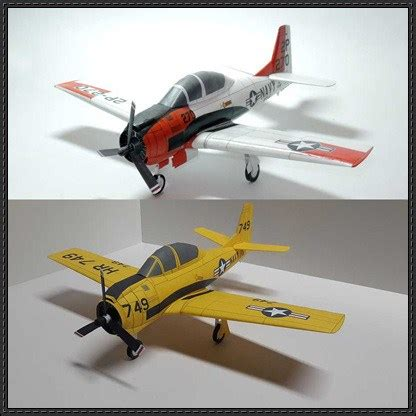 Papercraft Aircraft - american aviation t 28 trojan papercraftsquare