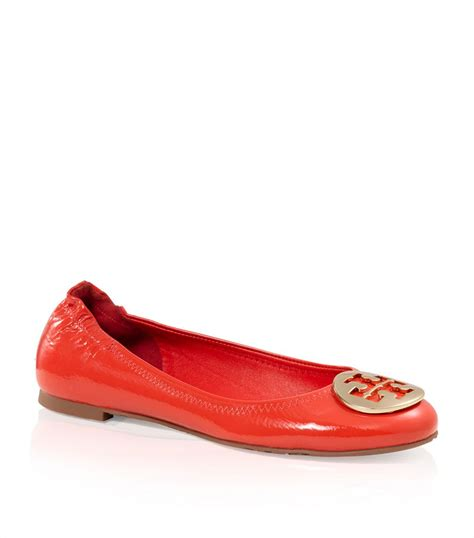 burch shoes for lyst burch tumbled patent leather reva ballet flat