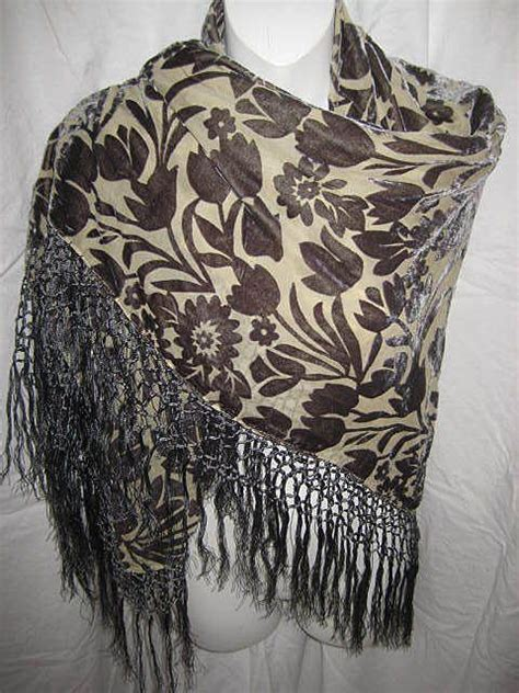 Pasmina Flowery Rayon Mud floral gray voided cut velvet rayon piano shawl with knotted fringe from victoriandreams on