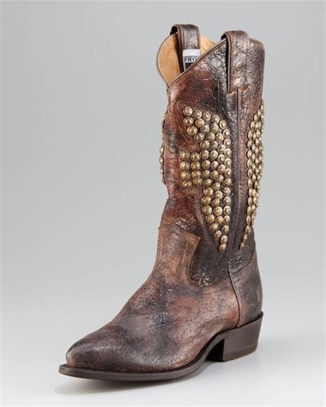 frye studded boots frye billy studded cowboy boot in brown chocolate lyst