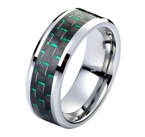 8mm green mens wedding ring band tungsten black green