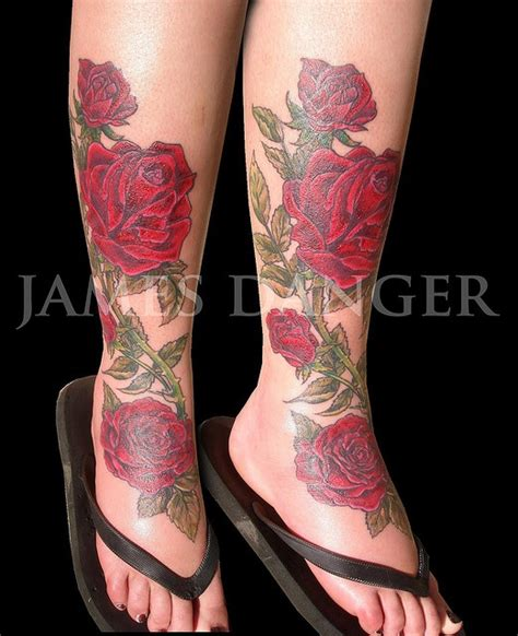 roses tattoo on leg leg addicted