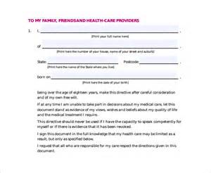 advance care directive template advance directive form 11 free