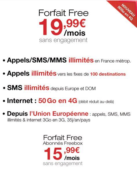 eonline mobile le forfait mobile free passe 224 50 go en 4g