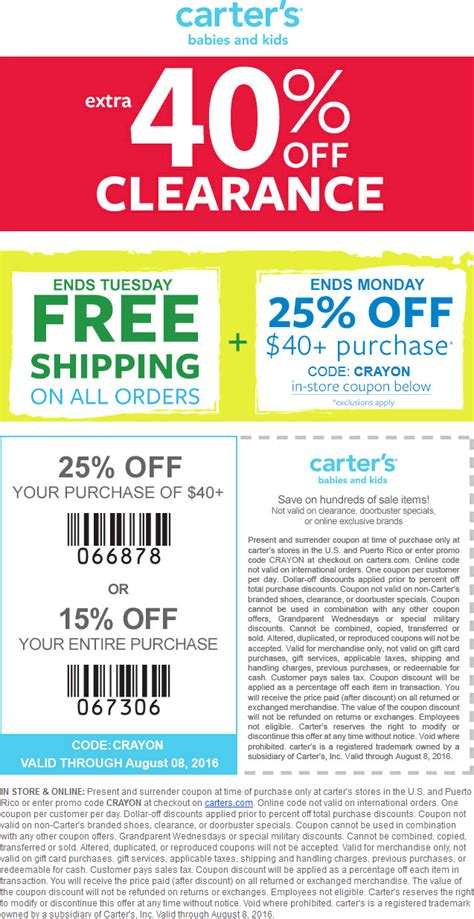 printable coupons for carters outlet carters coupons printable 25 off cyber monday deals on