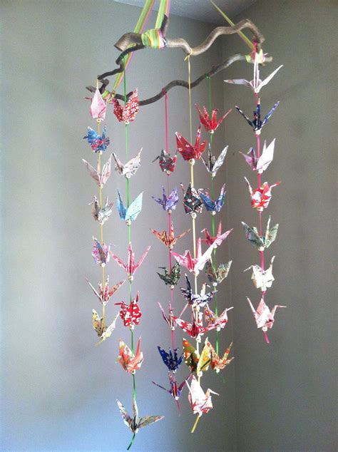 Crane Origami Mobile - one of a origami crane mobile for baby