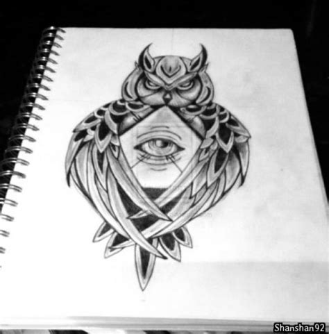 owl tattoo with all seeing eye tattoo designs for quot owl of athena minerva with all seeing