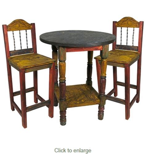 Mexican Painted Bar Stools by Mexican Painted Wood Bar Table Set With 4 Chairs