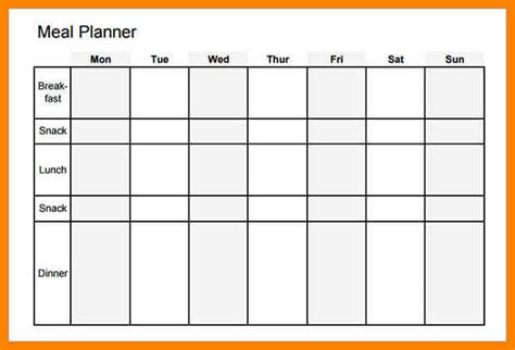 blank meal planner with snacks 5 blank meal planning template dialysis nurse