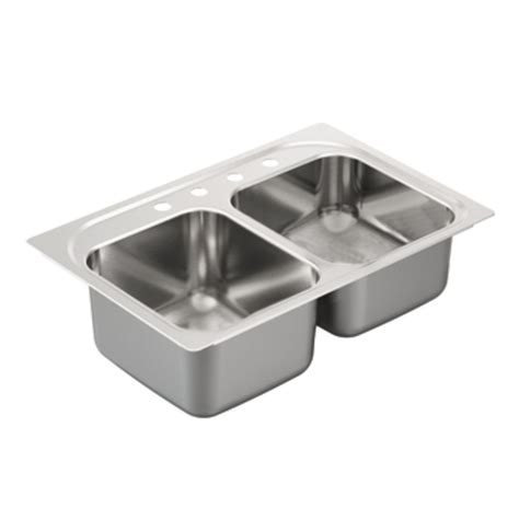 Moen Kitchen Sinks Shop Moen 2000 Series 22 In X 33 In Stainless Steel Basin Drop In 4 Residential