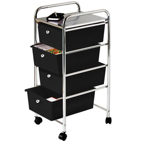 Bathroom Storage Trolley 4 Drawer Chrome Finish Office Salon Bathroom Storage