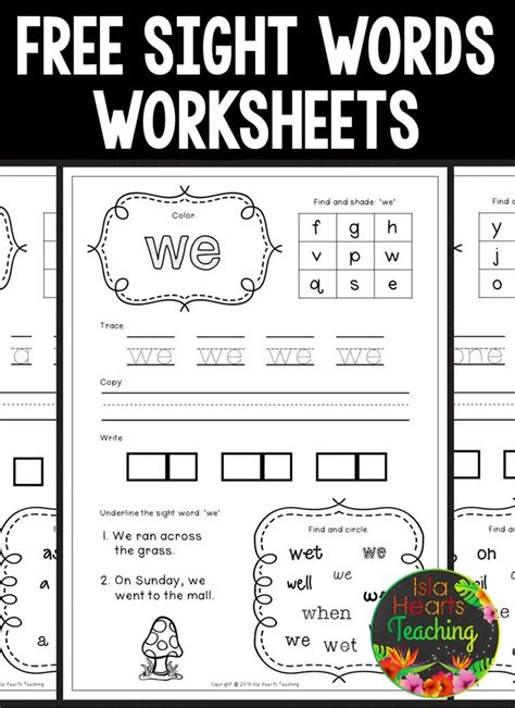 free sight words worksheets great to review reading
