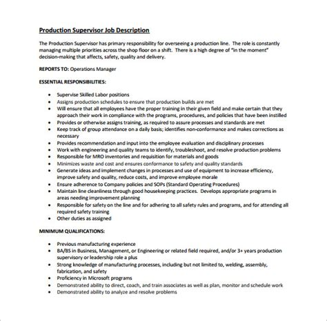 production manager job description manager resume