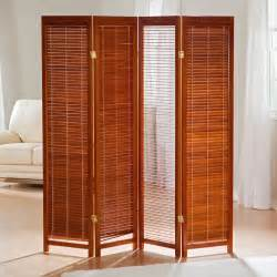 room partitions tranquility wooden shutter screen room divider in honey room dividers at hayneedle
