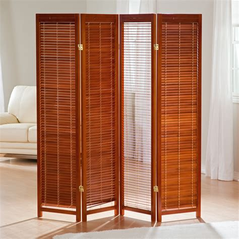room dividers tranquility wooden shutter screen room divider in honey room dividers at hayneedle