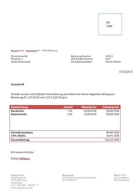 Rechnungskorrektur Gutschrift Muster Gutschrift Vorlage Muster Zum Gratis